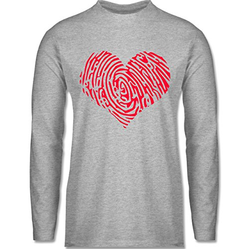 Shirtracer Statement Shirts - Herz Fingerabdruck Rot - Herren Langarmshirt Grau Meliert