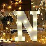 ODJOY-FAN 26 Englisch Brief Licht LED Letter Light Alphabet LED Beleuchtung Licht Oben Weiß Kunststoff Briefe Stehen Hängend A-M Wohnaccessoires Lichter Zubehör (N,1 PC)
