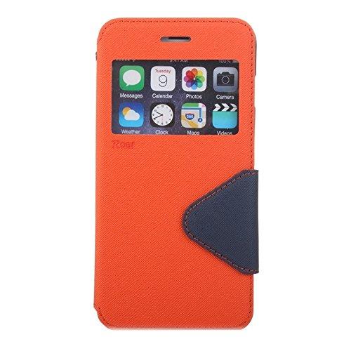 Phone case & Hülle Für iPhone 6 Plus / 6s Plus, Roar Cross Texture Flip Leder Tasche mit Halter & Card Slot & Caller ID Fenster ( Color : Green ) Orange