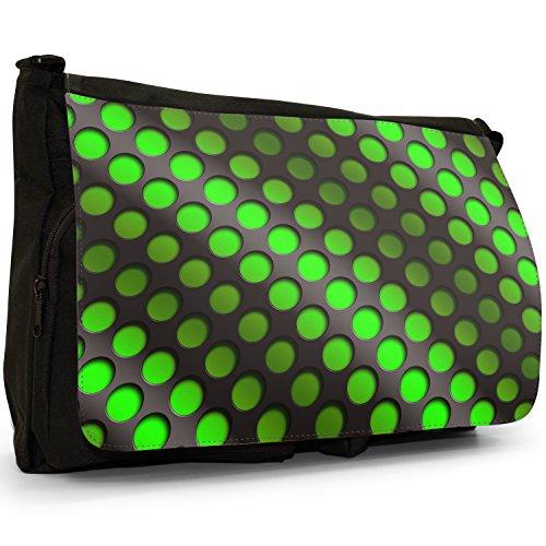 Abstrakte 3D-Welle Grün Große Messenger- / Laptop- / Schultasche Schultertasche aus schwarzem Canvas