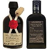Organic Oil and Vinegar set - 250ml Luxury bottle of Balsamic Artisan, Aged Vinegar from Modena and 250ml gift bottle of Extra Virgin Olive Oil Oro Del Desierto Almeria
