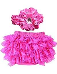 hrph Bloomer Bébé Fille 0 à 24 Mois Shorts de Bain Diaper Cover Bandeau Set Nouveau-Né Ruffle Culotte Dentelle Infant avec Volants