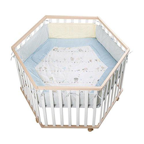 Roba-Kids 202500BCV183 - Parque hexagonnal de madera bicolor (blanco/madera), con protector.