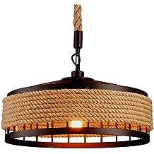 GAOLI Retro Lámpara De Techo De Luz, Retro Industrial De Hierro Cáñamo Cuerda Ático Luz