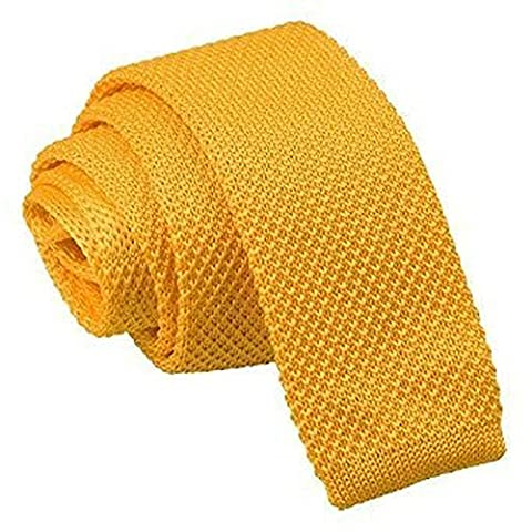 DQT Premium Knitted Polyester Plain Solid Marigold Yellow Men's Skinny