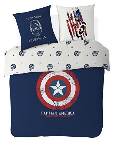 Disney Captain America Bettwäsche, Baumwolle, Blau, 140x 200