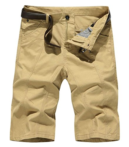 Gocgt Mens Multiple Pockets Leisure Solid Color High Waist Army Shorts