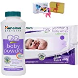 Himalaya Herbals Baby Powder (100g)+Himalaya Herbals Soothing Baby Wipes (24 Sheets) With Happy Baby Luxurious Kids Soap With Toy (100gm)