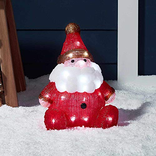Lights4fun - decorazione natalizia luminosa a babbo natale con led bianchi freddi per interni ed esterni
