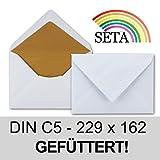 50 Kuverts in Weiß-Gold | Brief-Umschläge in DIN C5 Format mit matter Oberfläche & hochwertiger Fütterung | formstabile Post-Umschläge für Weihnachten & festliche Anlässe | ohne Fenster