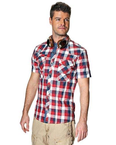 Herren Glanz Casual Western Flanell Schottenkaro Joch kariert Check Shirt S/S Gr. Large, Mehrfarbig (Flanell Glanz)