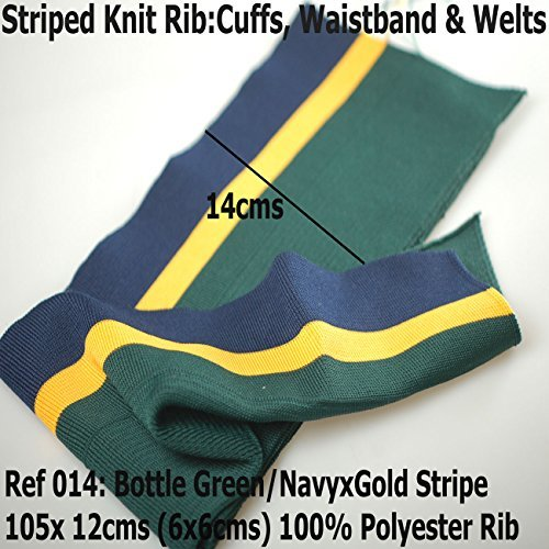 Knitted Waistband Rib Welt for Cuffs or Waist Band and Neck Band Ribs for Jackets, Bombers or any Apparel Garments for Trimming. Stretch Resilient Ribs. Limited Stocks, Supplied as 2 Strips, Great Value! - #014 Bottle Green/Navy X Gold - 2Pcs - 014 Gauge