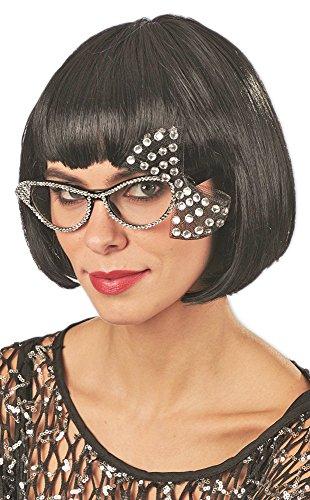 50er Der Stil Kostüm Jahre Brille - Andrea-Moden Cat Eye Brille mit Strass und Schleife - Schwarz Kristall - Toll zum 50er 60er Jahre Rockabilly Kostüm
