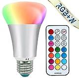 Mifine 10W Ampoule LED Blanc + 12 Couleur - 2017 Mise à niveau [Classe énergétique A++] - LED E27 RGBW avec Télécommande Infrarouge sans fil