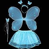 GZQ 4 Conjunto Disfraz de Hadas,, Mariposa Alas Varita Tutú Diadema Hada Juguete para Niña, Accesorios del Ropa para Cosplay del Halloween (Azul)
