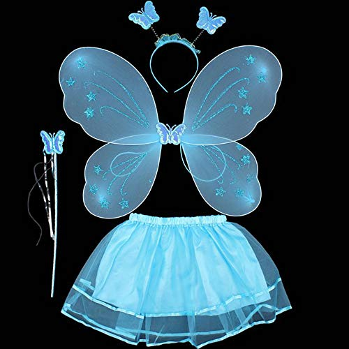 ZZM Fairy Princess Kostüm-Set Baby Mädchen Schmetterling Engel Karneval Cosplay Flügel Haarband Zauberstab, Tutu Rock (Butterfly Princess Mädchen Kostüm)