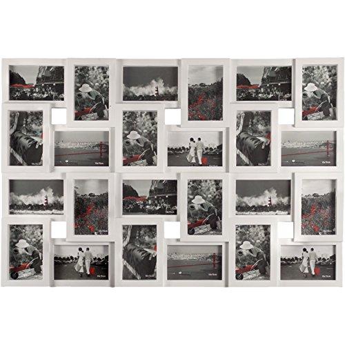 Smartfox Bilderrahmen Fotorahmen Collage für 24 Bilder im Format 10x15 cm in Weiß, 85x57cm, quadratisch