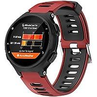 Fossen Moda Sport Pulsera de Reloj Reemplazo Banda Correas para Garmin Forerunner 735XT (Rojo)