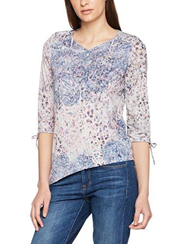 Bonita Damen T-Shirt Gemustert, 3/4-Arm, V-Ausschnitt, Mehrfarbig (Soft Powder Rose 5715), 44 (Herstellergröße: XXL)