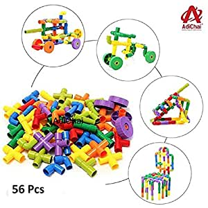 AdiChai Multi Coloured Educational Play and Learn Plastic Building Block Set Pipes Puzzle Set - Blocks for Kids ( 56 Pieces ) - Blocks Game