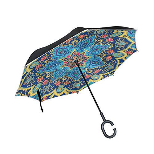 ISAOA Doppelschichtiger Regenschirm, umgekehrt, selbststehend, für drinnen und draußen, Tribal Mandala-Blumendruck, Winddicht, regenverkehrter Regenschirm mit UV-Schutz