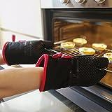 Deik Guantes de Horno, Guantes de Cocina Resistentes al Calor un Par de Guantes de Cocina Antideslizante con Silicona para Cocinar, Hornear, Negro