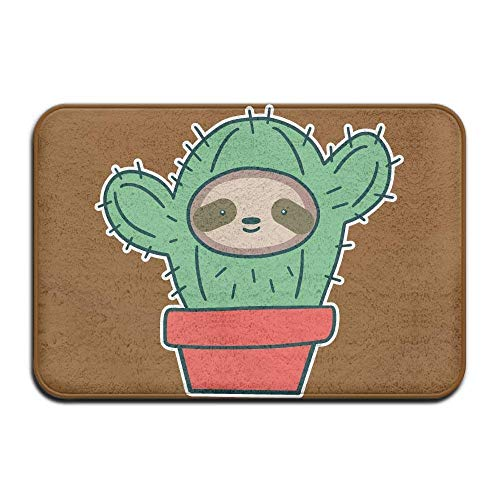 JIEKEIO Inside & Outside Entrance Custom Doormat Sloth Face Cactus Design Pattern for Dining Hallway Bathroom 23.6(L) X15.7(W) Inch,40cmx60cm
