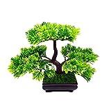 VORCOOL Künstlicher Bonsai Dekopflanzen Klein Kunstpflanzen im Topf Zuhause Party Tisch Dekoration (Grün)
