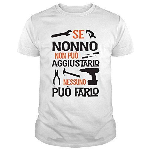 No0001 t-shirt uomo se nonno non può aggiustarlo nessuno può farlo festa del papa' (xxl, bianco)