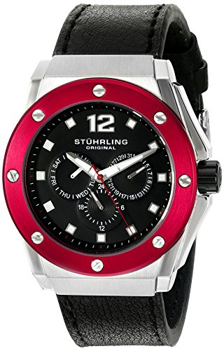 Stuhrling Original Men's 469.33TT1 Special Reserve Apocalypse Midnight Quartz Multi-Function Black Leather Strap... image
