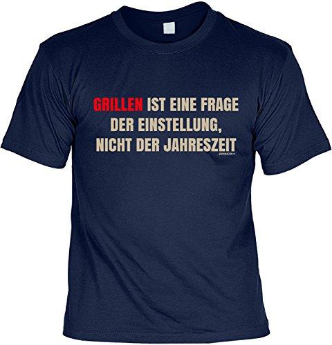 Grill/Spaß-Shirt/Fun-Shirt/Rubrik lustige Sprüche: Grillen ist eine Frage der Einstellung, nicht der Jahreszeit Navyblau