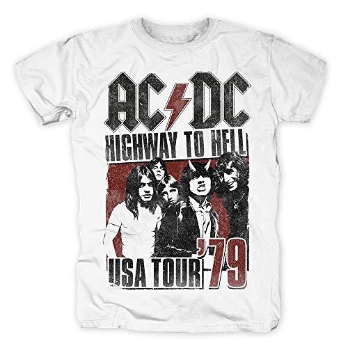 1979 Tour T-shirt (AC/DC - USA Tour 1979 Highway to Hell T-Shirt Weiß (S))