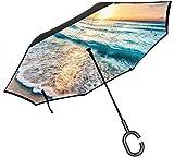 Ombrello grande antivento dritto con supporto antivento con maniglia a forma di C Stampa in muratura blu per pioggia auto esterna