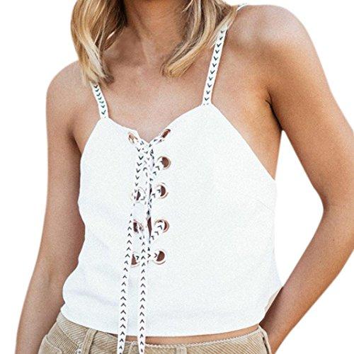AMUSTER Frauen Ärmellos Crop Tops Weste Backless Halter Tank Tops Crochet Behälter Unterhemd Spitze Bluse Bralet Crop (S, (Top Kostüme Halter)