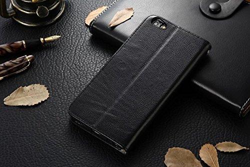 Für VIVO X7 Plus Case Cover Horizontale Flip Stand Weiche echtes Leder Litchi Texture Case mit Halter & Card Cash Slots & Photo Frame ( Color : Brown ) Black