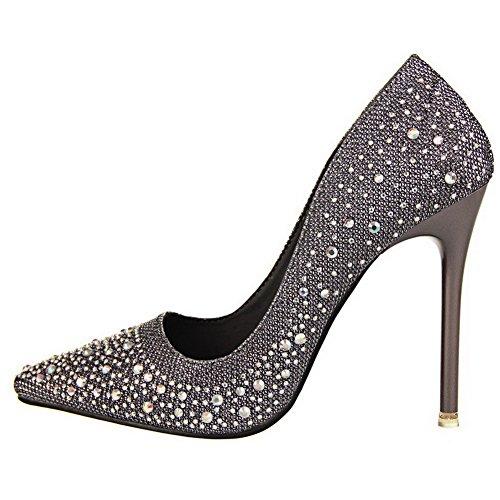 AalarDom Damen Weiches Material Rein Stiletto Spitz Zehe Pumps Schuhe mit Wasser Diamanten Grau-Pu Leder