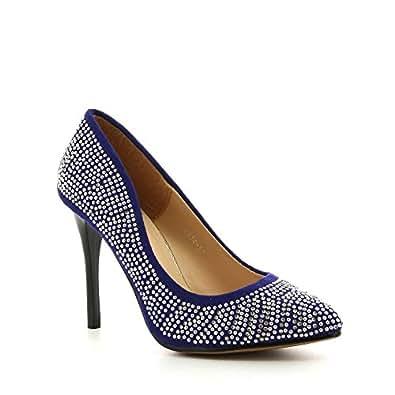 Ideal Shoes - Escarpins cloutés et ornés de strass avec motif Eika Bleu 41