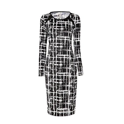 DISSA EDT75 femme mode 2018 Robe Crayon Rétro Vintage au Genou Noir Blanc