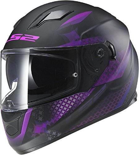 LS2 FF320 Stream Lux Ladies Casco Moto para Mujer Full Face casco, negro mate color rosa + rejilla pasamontañas