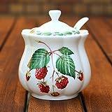 Marmeladendose und Löffel, klassisch, Design-Raspberry
