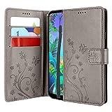 CMID LG Q60 Hülle, LG K50 Hülle, Ständer PU Leder Brieftasche Handytasche Flip Bookcase Schutzhülle Cover mit Handschlaufe für LG Q60 / LG K50 (Grau)