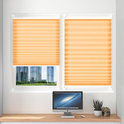 Plissee klemmfix ohne Bohren verdunklung Seitenzugrollo Faltrollo für Sonnenschutz, Plissee Jalousie Klemmfix Rollo für Fenster und Tür