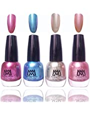 Makeup Mania Premium Nail Polish Exclusive Nail Paint Combo (All Metallic Blue Silver and Pink, Pack of 4)