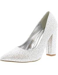 Mujer Oficina Noche Talón De Bloque Dedo Puntiagudo Pumps Zapatos Trabajo Zapatos De La Corte