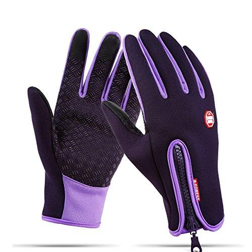 Touchscreen-Handschuhe Winddichte Warme Handschuhe Outdoor Sport Motorrad Wasserdicht Radsport Fahrrad Winterhandschuhe für Herren Damen Kinder (Violett, M) (Reiten-handschuh)