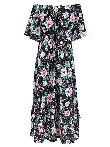 Missy Chilli Damen Lang Kleid Sommer Elegant Off Shoulder Kurzarm Blumen Boho Chiffon Maxi Kleid Strandkleid Dress Schwarz
