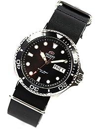 Orient Ray II Deep Black Diver–Reloj de Buceo automático reloj de piel NATO banda