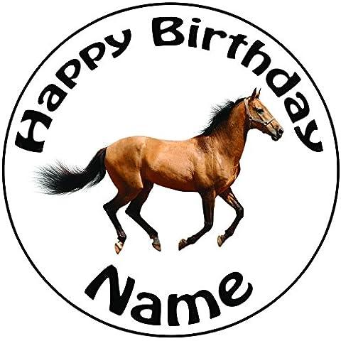 Personalizzato a forma di cavallo–Topper per torta a pre-cut rotondo 8