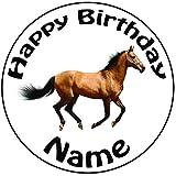 Personalisierter Pferd Zuckerguss Kuchen Topper / Kuchendekoration - 20 cm Großer Kreis - Jeder Name Und Jedes Alter