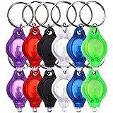 S/O® 12er Pack LED Schlüsselanhänger Taschenlampe flach mit Schlüsselring Mini LED Taschenlampen Lampe Kinder Kindertaschenlampe